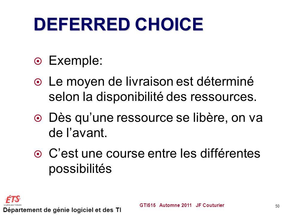 Département de génie logiciel et des TI DEFERRED CHOICE Exemple: Le moyen de livraison est déterminé selon la disponibilité des ressources.