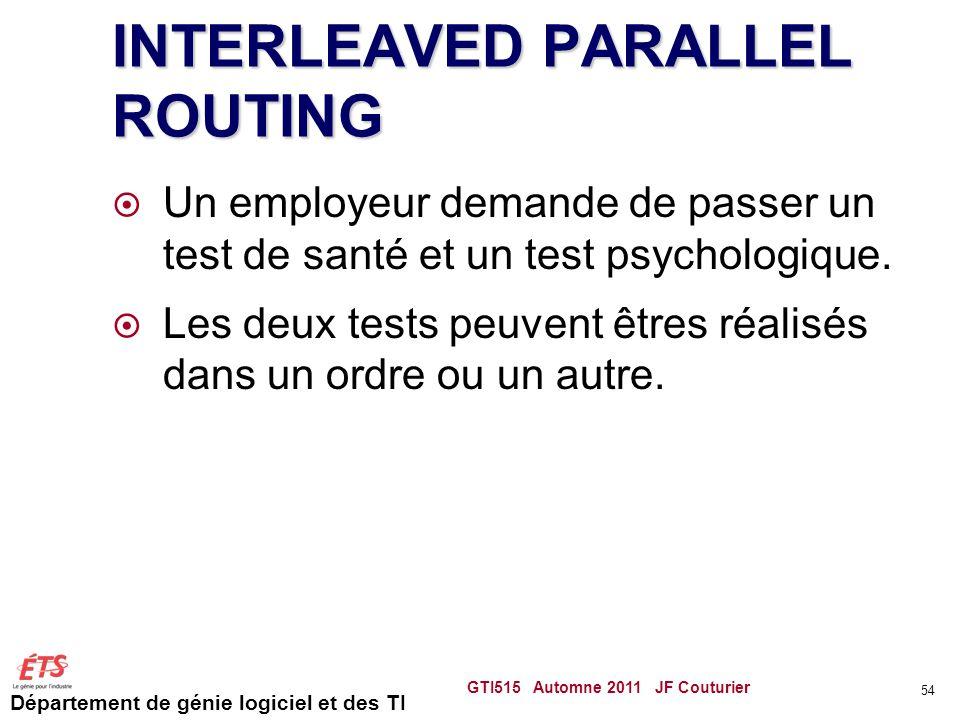 Département de génie logiciel et des TI INTERLEAVED PARALLEL ROUTING Un employeur demande de passer un test de santé et un test psychologique.