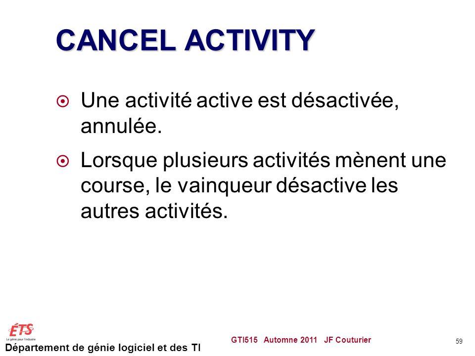 Département de génie logiciel et des TI CANCEL ACTIVITY Une activité active est désactivée, annulée.