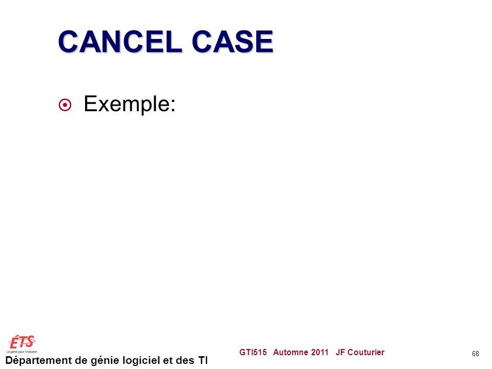 Département de génie logiciel et des TI CANCEL CASE Exemple: GTI515 Automne 2011 JF Couturier 68