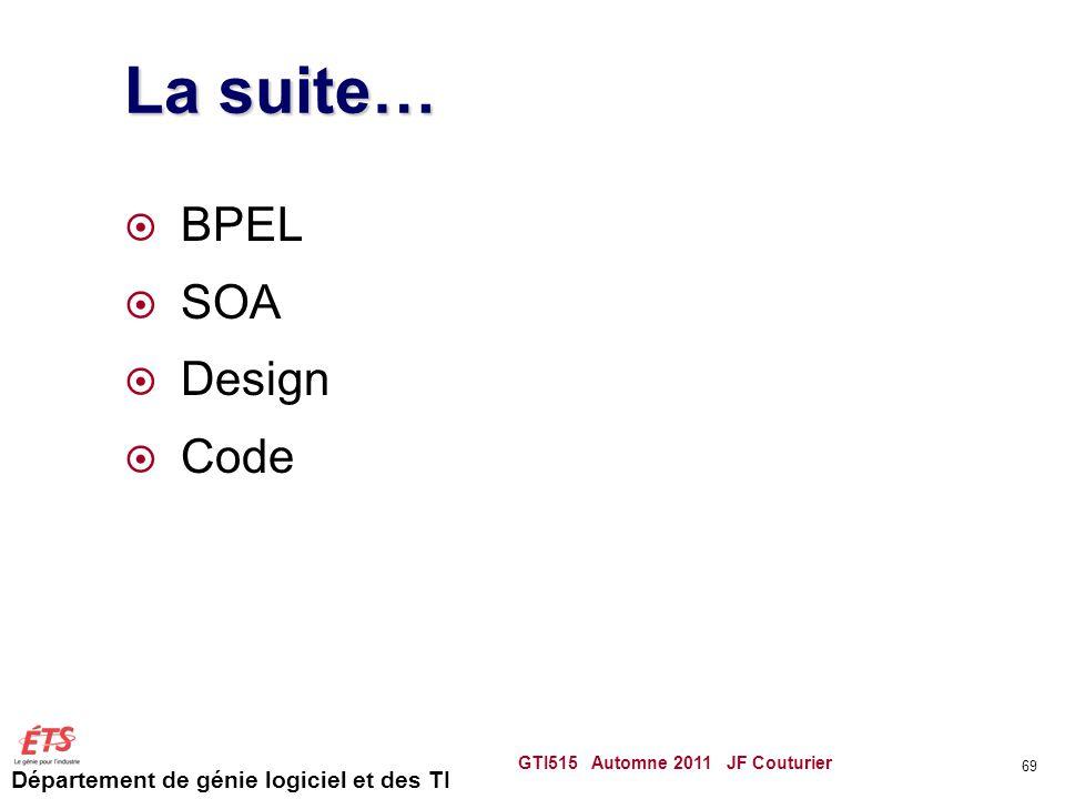 Département de génie logiciel et des TI La suite… BPEL SOA Design Code GTI515 Automne 2011 JF Couturier 69