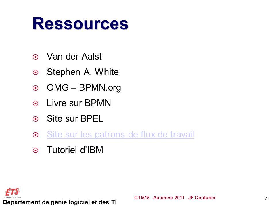Département de génie logiciel et des TI Ressources Van der Aalst Stephen A.