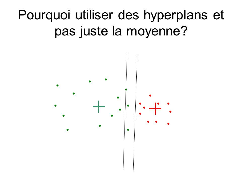 Pourquoi utiliser des hyperplans et pas juste la moyenne