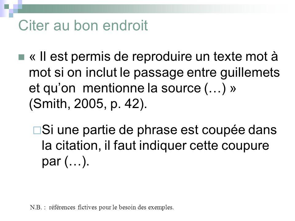 Citer au bon endroit « Il est permis de reproduire un texte mot à mot si on inclut le passage entre guillemets et quon mentionne la source (…) » (Smith, 2005, p.