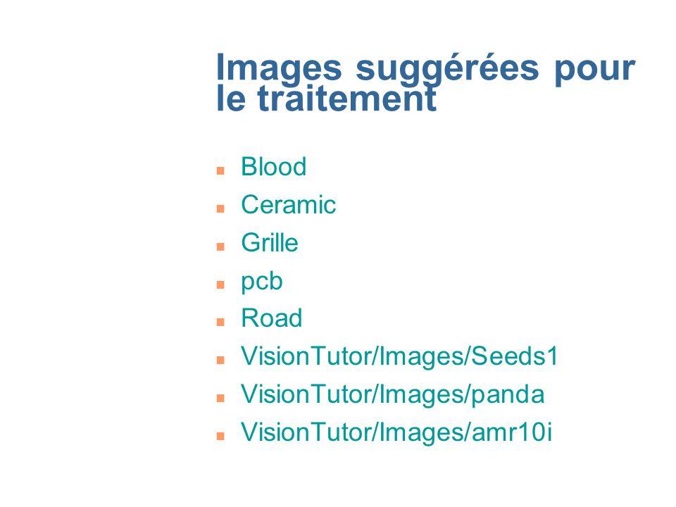 Images suggérées pour le traitement n Blood n Ceramic n Grille n pcb n Road n VisionTutor/Images/Seeds1 n VisionTutor/Images/panda n VisionTutor/Images/amr10i