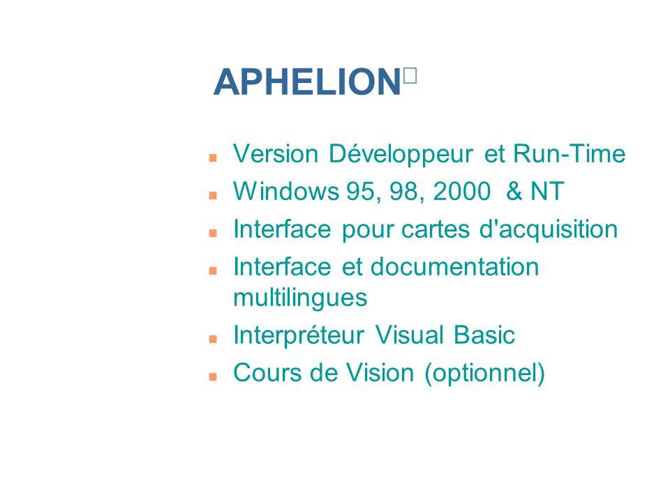 n Version Développeur et Run-Time n Windows 95, 98, 2000 & NT n Interface pour cartes d'acquisition n Interface et documentation multilingues n Interp