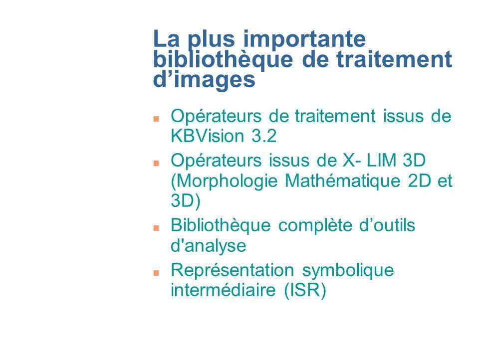 Bibliothèques dopérateurs (1) n Opérateurs arithmétiques et logiques n Transformations géométriques n Filtrage linéaire et non-linéaire n Convolution et détecteurs de contour n Opérateurs morphologiques
