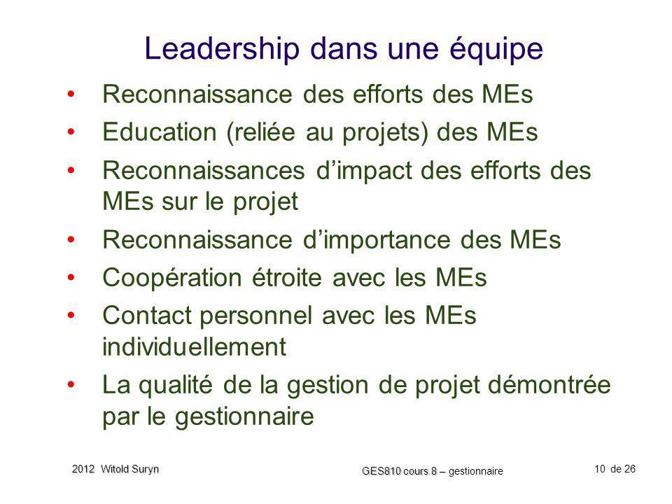 10 GES810 cours 8 – GES810 cours 8 – gestionnaire de 26 2012 Witold Suryn Leadership dans une équipe Reconnaissance des efforts des MEs Education (rel
