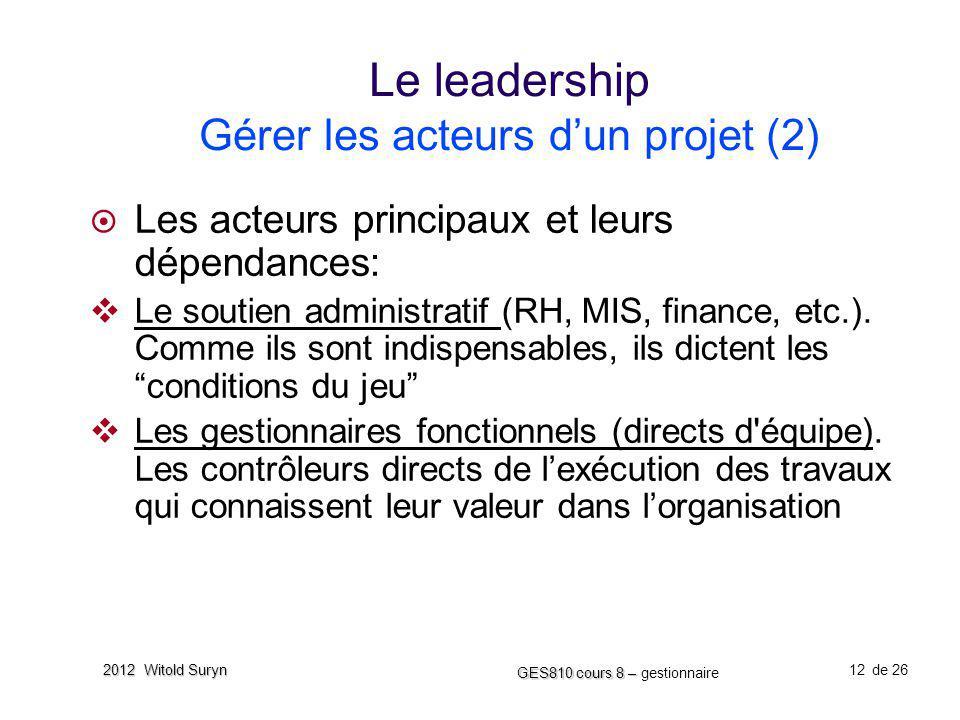 12 GES810 cours 8 – GES810 cours 8 – gestionnaire de 26 2012 Witold Suryn Le leadership Gérer les acteurs dun projet (2) Les acteurs principaux et leu