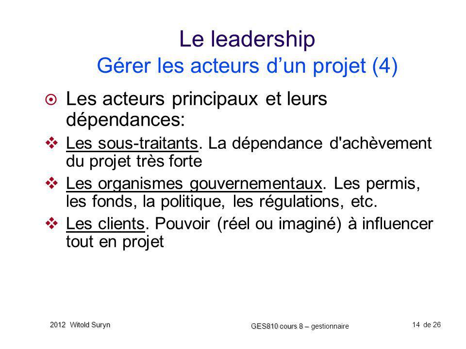 14 GES810 cours 8 – GES810 cours 8 – gestionnaire de 26 2012 Witold Suryn Le leadership Gérer les acteurs dun projet (4) Les acteurs principaux et leu