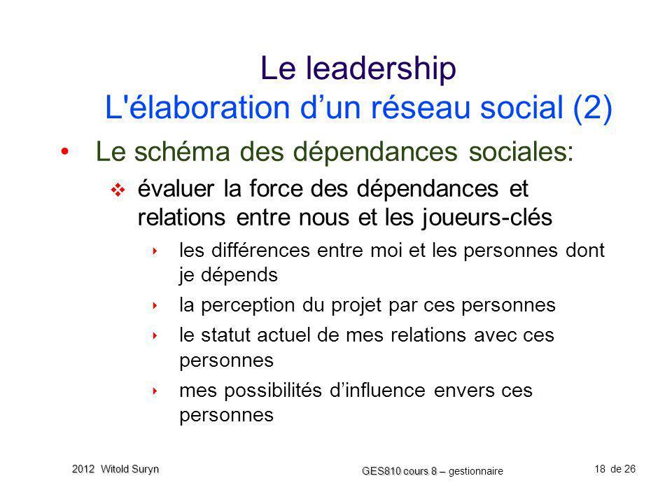 18 GES810 cours 8 – GES810 cours 8 – gestionnaire de 26 2012 Witold Suryn Le leadership L'élaboration dun réseau social (2) Le schéma des dépendances
