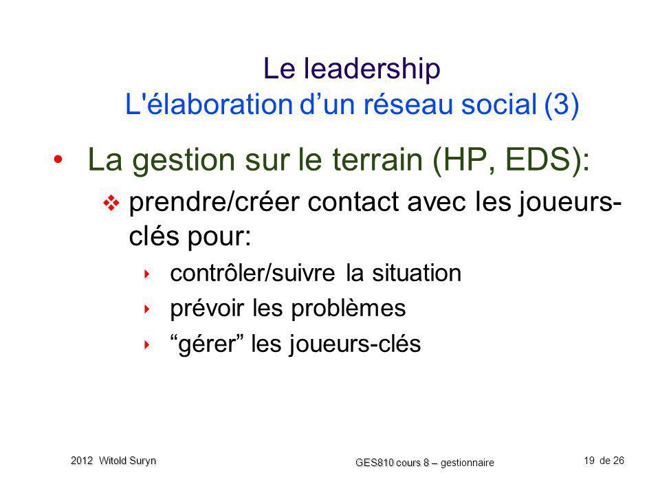 19 GES810 cours 8 – GES810 cours 8 – gestionnaire de 26 2012 Witold Suryn Le leadership L'élaboration dun réseau social (3) La gestion sur le terrain