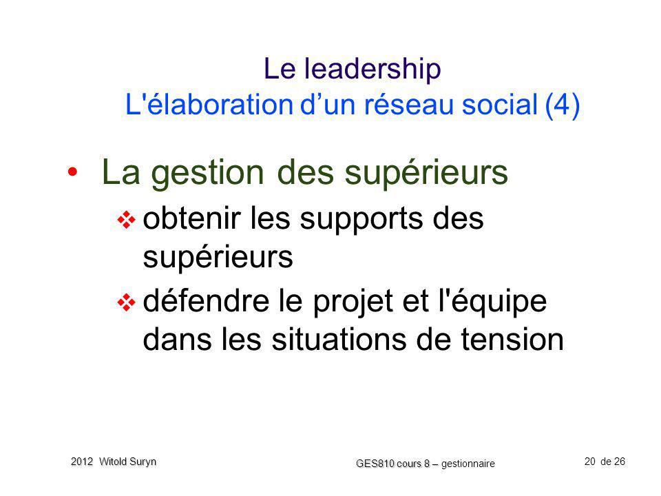 20 GES810 cours 8 – GES810 cours 8 – gestionnaire de 26 2012 Witold Suryn Le leadership L'élaboration dun réseau social (4) La gestion des supérieurs