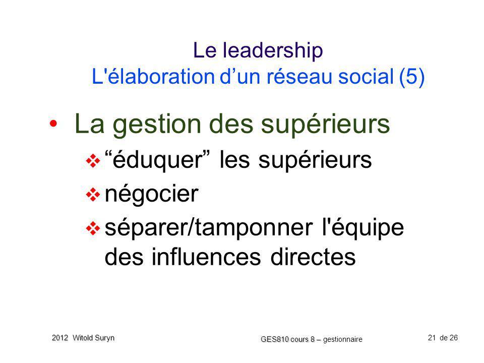 21 GES810 cours 8 – GES810 cours 8 – gestionnaire de 26 2012 Witold Suryn Le leadership L'élaboration dun réseau social (5) La gestion des supérieurs