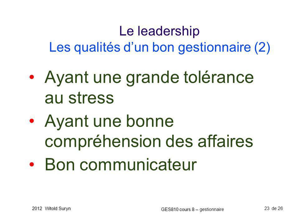 23 GES810 cours 8 – GES810 cours 8 – gestionnaire de 26 2012 Witold Suryn Le leadership Les qualités dun bon gestionnaire (2) Ayant une grande toléran