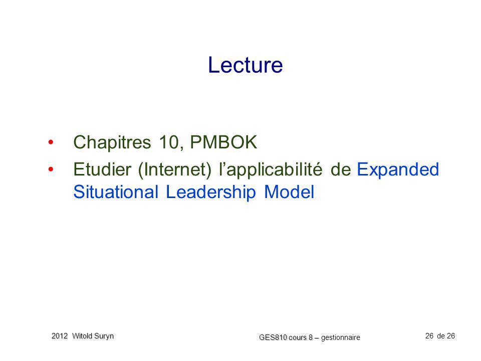 26 GES810 cours 8 – GES810 cours 8 – gestionnaire de 26 2012 Witold Suryn Lecture Chapitres 10, PMBOK Etudier (Internet) lapplicabilité de Expanded Si