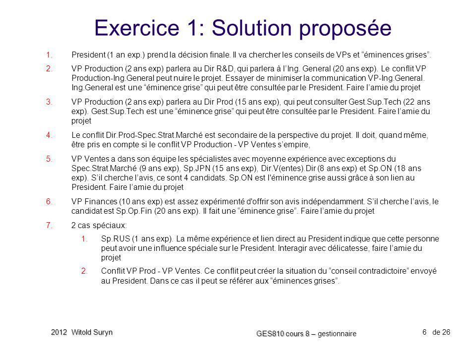 6 GES810 cours 8 – GES810 cours 8 – gestionnaire de 26 2012 Witold Suryn Exercice 1: Solution proposée 1. President (1 an exp.) prend la décision fina