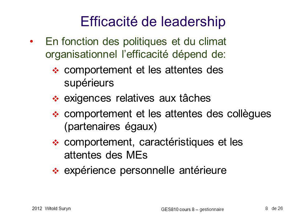 8 GES810 cours 8 – GES810 cours 8 – gestionnaire de 26 2012 Witold Suryn Efficacité de leadership En fonction des politiques et du climat organisation