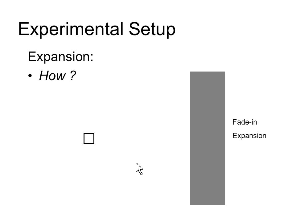 Experimental Setup Expansion: How ? Fade-in Expansion