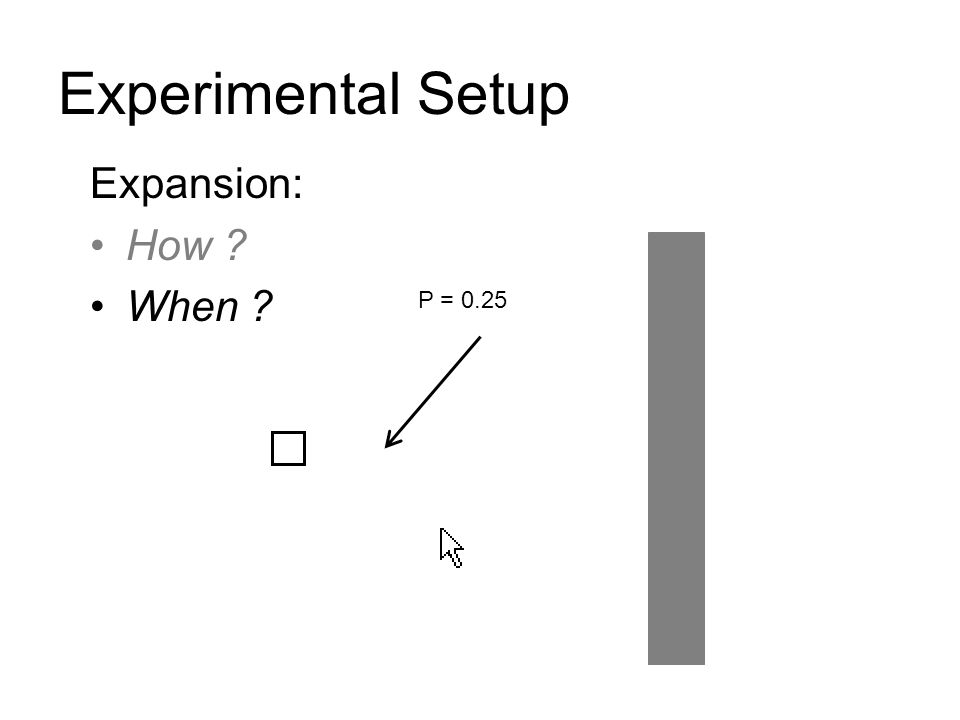 Experimental Setup Expansion: How ? When ? P = 0.25