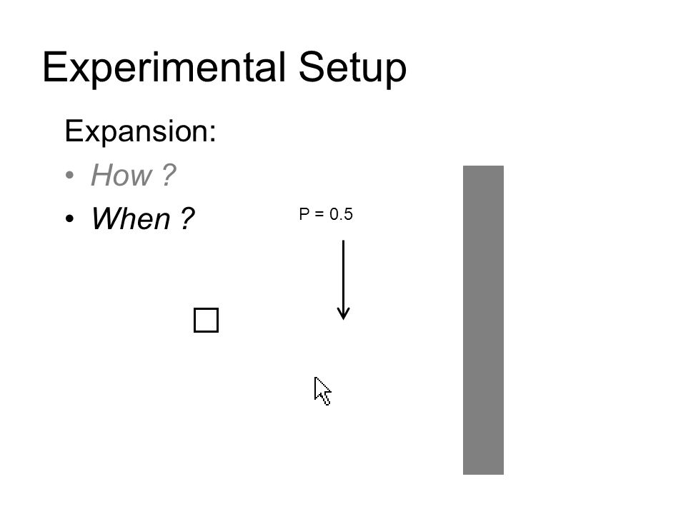 Experimental Setup Expansion: How ? When ? P = 0.5