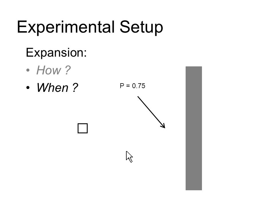 Experimental Setup Expansion: How ? When ? P = 0.75