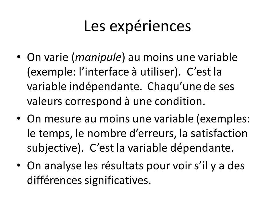 Les expériences On varie (manipule) au moins une variable (exemple: linterface à utiliser). Cest la variable indépendante. Chaquune de ses valeurs cor