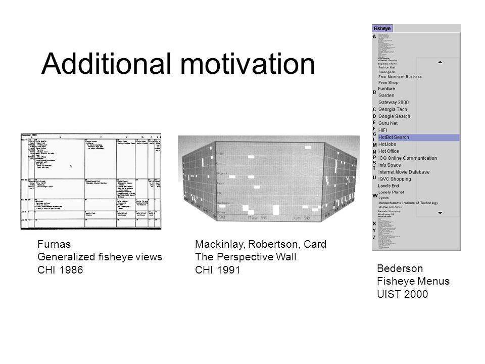 Additional motivation Furnas Generalized fisheye views CHI 1986 Bederson Fisheye Menus UIST 2000 Mackinlay, Robertson, Card The Perspective Wall CHI 1