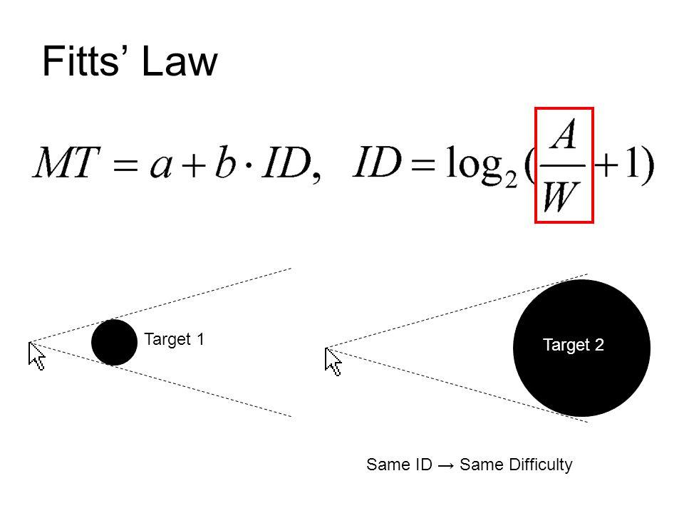 Full Study 2 conditions x 13 (A,W) values x 5 repetitions x 5 blocks x 12 participants = 7800 trials