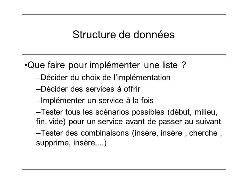 Structure de données Que faire pour implémenter une liste ? –Décider du choix de limplémentation –Décider des services à offrir –Implémenter un servic