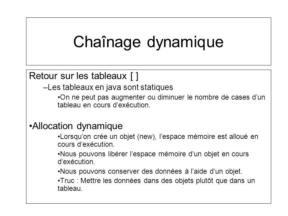 Chaînage dynamique Retour sur les tableaux [ ] –Les tableaux en java sont statiques On ne peut pas augmenter ou diminuer le nombre de cases dun tablea