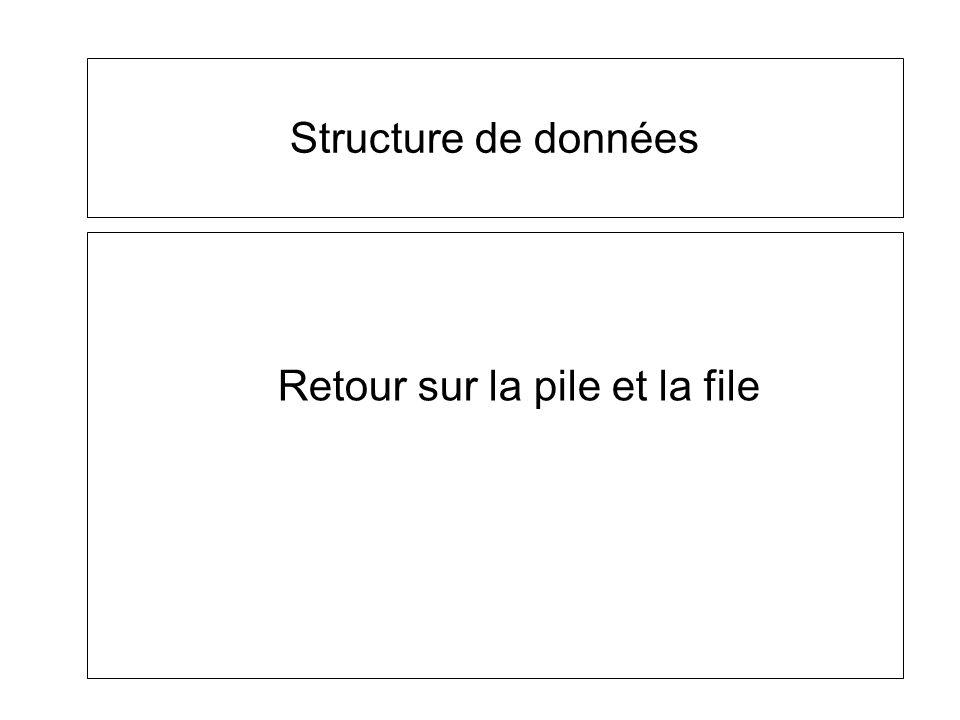 Structure de données Retour sur la pile et la file