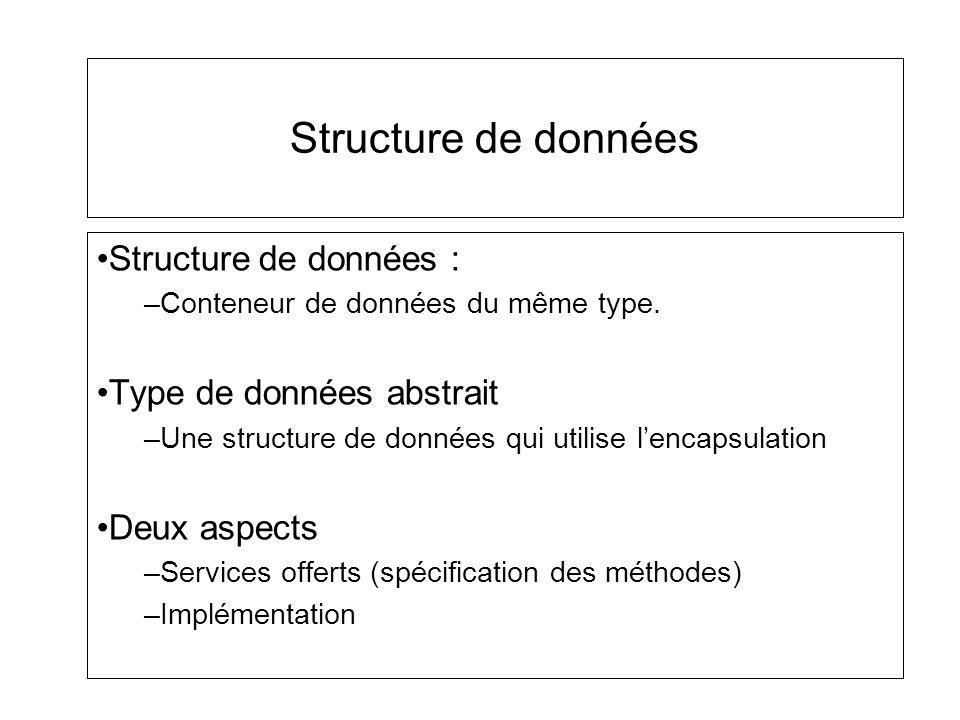 Structure de données Structure de données : –Conteneur de données du même type. Type de données abstrait –Une structure de données qui utilise lencaps