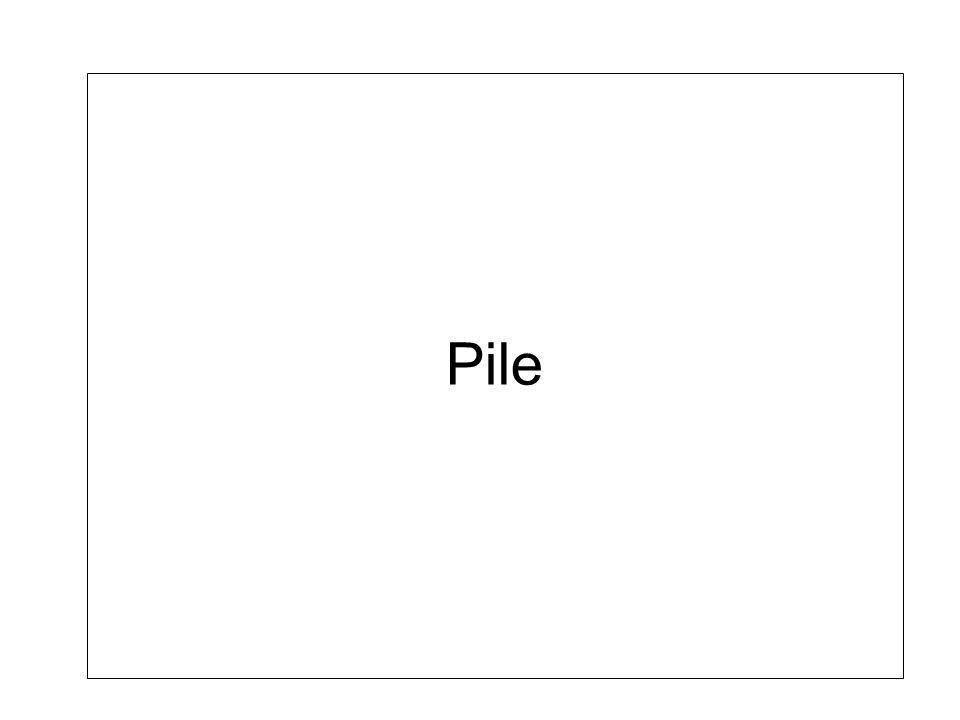 Structure de données Pile (LIFO; Last In First Out) –Structure de données où on insère et on enlève toujours au début (dessus) –Même principe que la pile dans la vie courante Pile dassiette, pile de linge, … –Fortement utilisé en informatique Pile système, pile dopérateurs arithmétiques, …