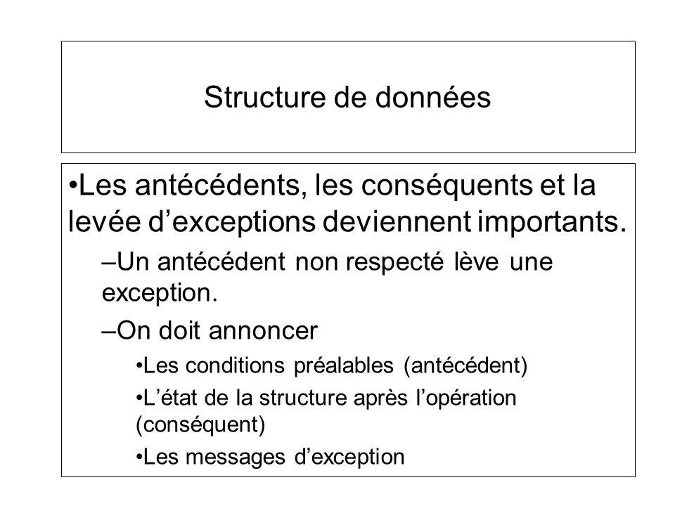 Structure de données Les antécédents, les conséquents et la levée dexceptions deviennent importants. –Un antécédent non respecté lève une exception. –