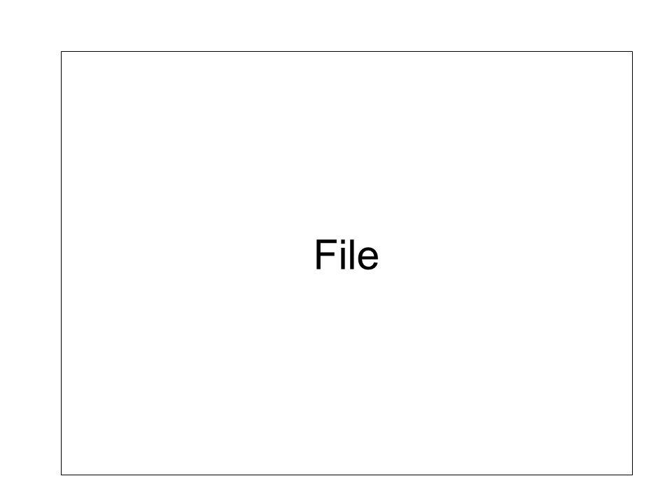 Structure de données File (FIFO; First In First Out) –Structure de données où on insère à la fin et on retire au début (dessus) –Même principe que la file dattente dans la vie courante File à la banque, à lépicerie, … –Fortement utilisé en informatique Imprimante, réseau, …