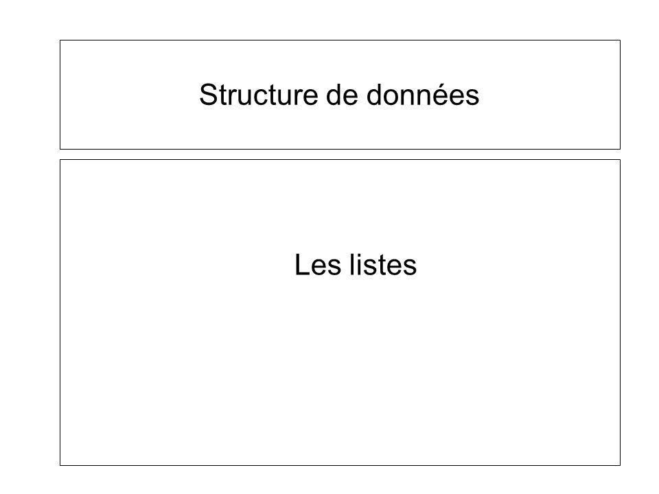 Structure de données Les listes