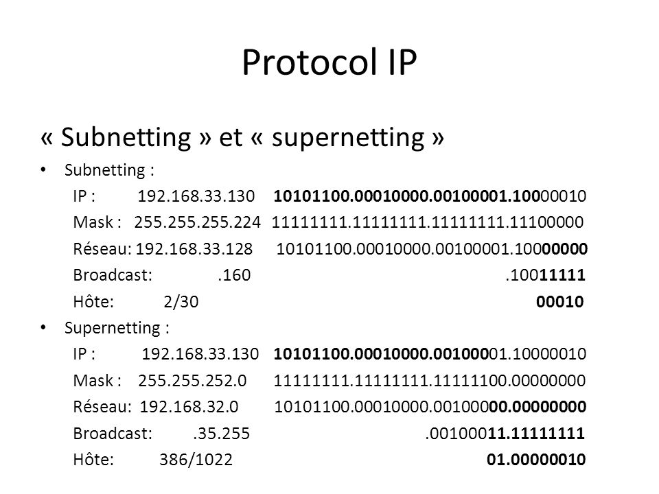 Protocol IP « Subnetting » et « supernetting » Subnetting : IP : 192.168.33.130 10101100.00010000.00100001.10000010 Mask : 255.255.255.224 11111111.11