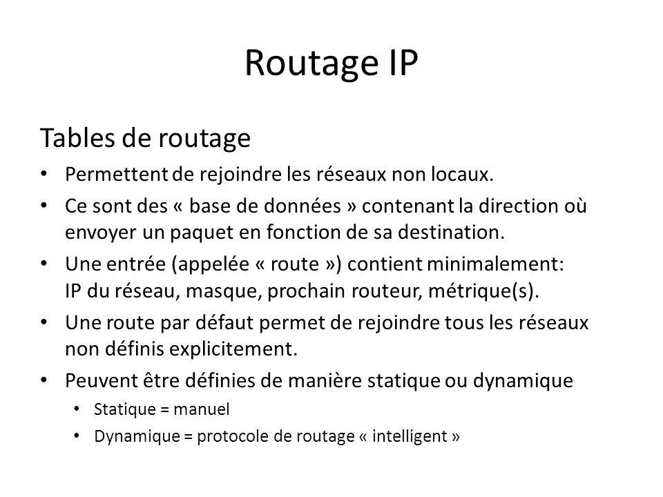 Routage IP Tables de routage Permettent de rejoindre les réseaux non locaux. Ce sont des « base de données » contenant la direction où envoyer un paqu