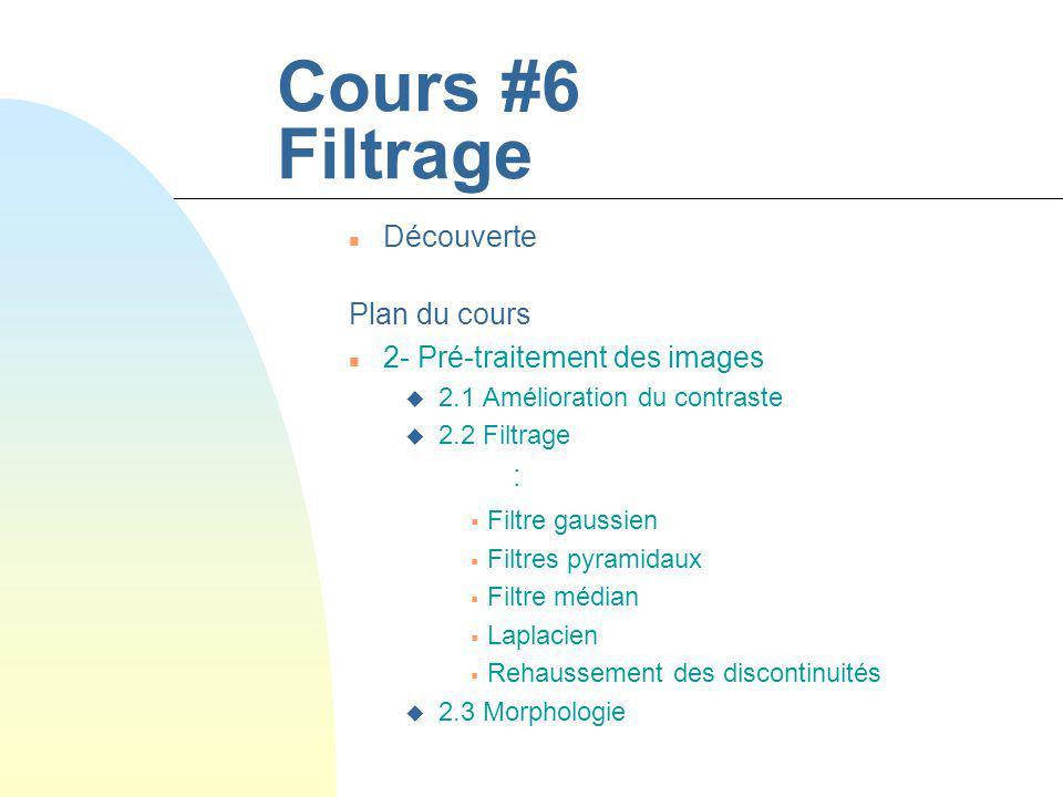 Cours #6 Filtrage n Découverte Plan du cours n 2- Pré-traitement des images u 2.1 Amélioration du contraste u 2.2 Filtrage : Filtre gaussien Filtres p