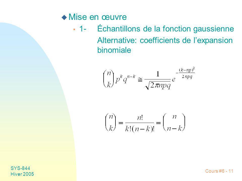 SYS-844 Hiver 2005 Cours #6 - 11 u Mise en œuvre 1-Échantillons de la fonction gaussienne Alternative: coefficients de lexpansion binomiale