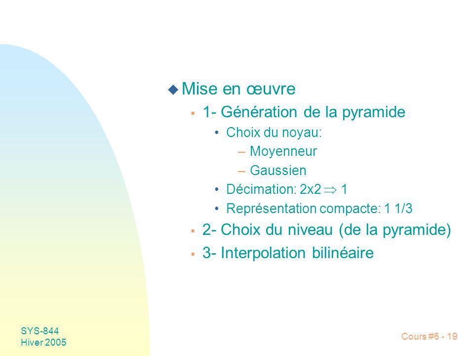 SYS-844 Hiver 2005 Cours #6 - 19 u Mise en œuvre 1- Génération de la pyramide Choix du noyau: –Moyenneur –Gaussien Décimation: 2x2 1 Représentation co
