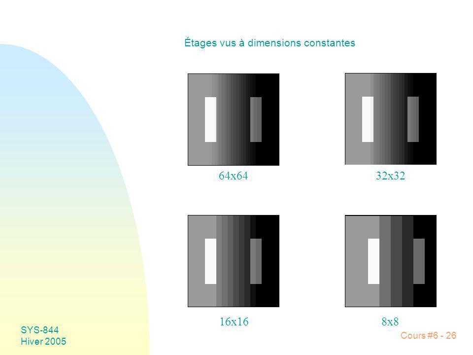 SYS-844 Hiver 2005 Cours #6 - 26 Étages vus à dimensions constantes 64x6432x32 8x816x16