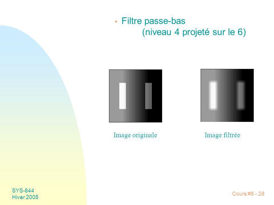 SYS-844 Hiver 2005 Cours #6 - 28 Filtre passe-bas (niveau 4 projeté sur le 6) Image originaleImage filtrée
