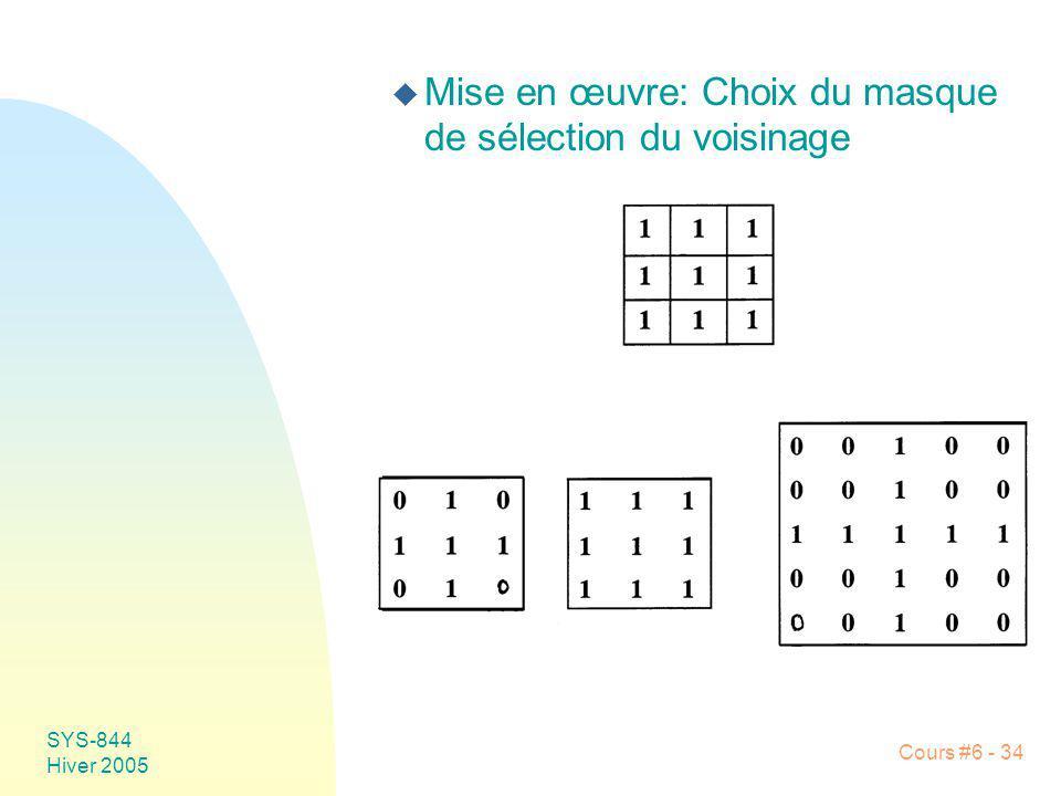 SYS-844 Hiver 2005 Cours #6 - 34 u Mise en œuvre: Choix du masque de sélection du voisinage