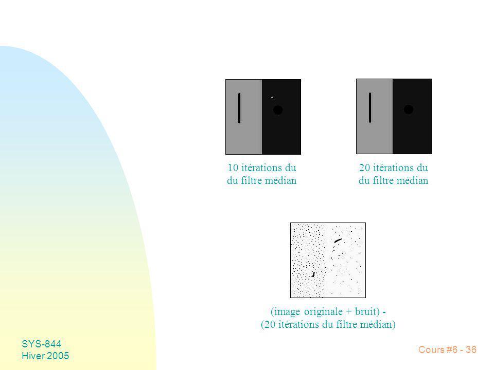 SYS-844 Hiver 2005 Cours #6 - 36 10 itérations du du filtre médian 20 itérations du du filtre médian (image originale + bruit) - (20 itérations du fil