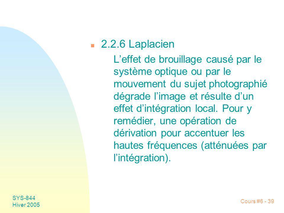 SYS-844 Hiver 2005 Cours #6 - 39 n 2.2.6 Laplacien Leffet de brouillage causé par le système optique ou par le mouvement du sujet photographié dégrade