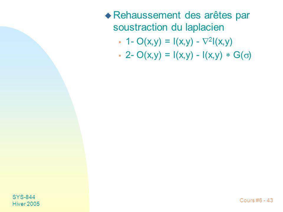 SYS-844 Hiver 2005 Cours #6 - 43 u Rehaussement des arêtes par soustraction du laplacien 1- O(x,y) = I(x,y) - 2 I(x,y) 2- O(x,y) = I(x,y) - I(x,y) G(
