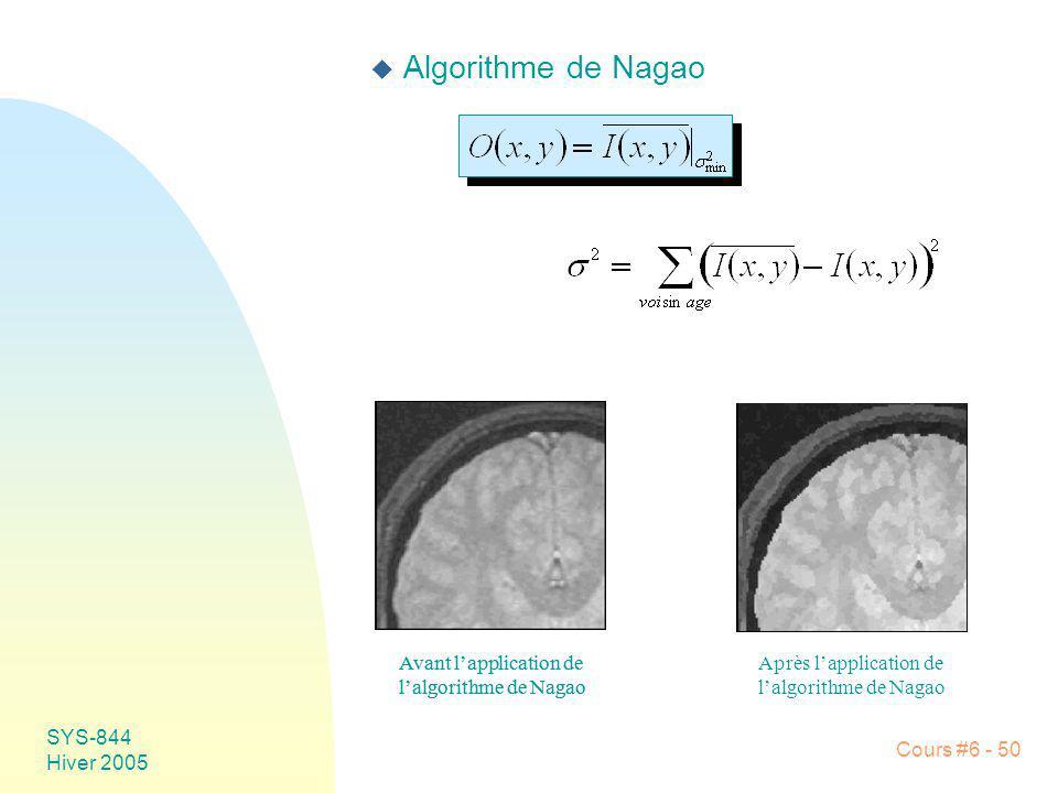 SYS-844 Hiver 2005 Cours #6 - 50 u Algorithme de Nagao Avant lapplication de lalgorithme de Nagao Avant lapplication de lalgorithme de Nagao Après lap