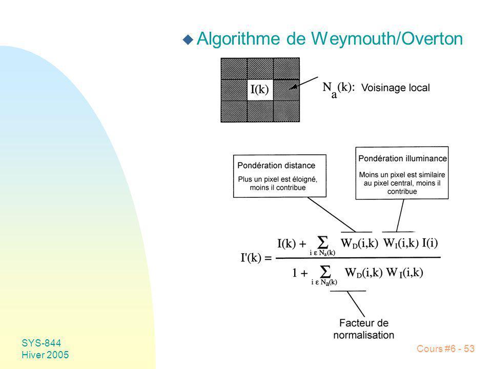 SYS-844 Hiver 2005 Cours #6 - 53 u Algorithme de Weymouth/Overton